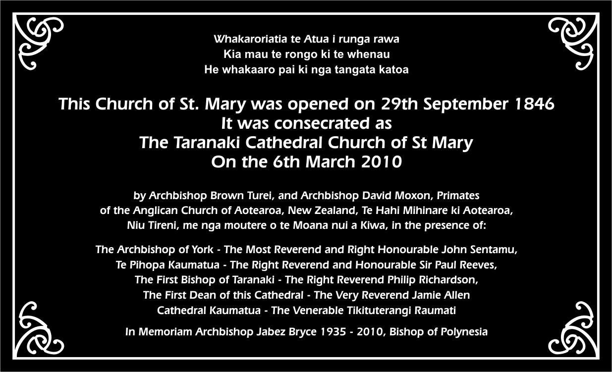 History The Taranaki Cathedral Church Of St Mary