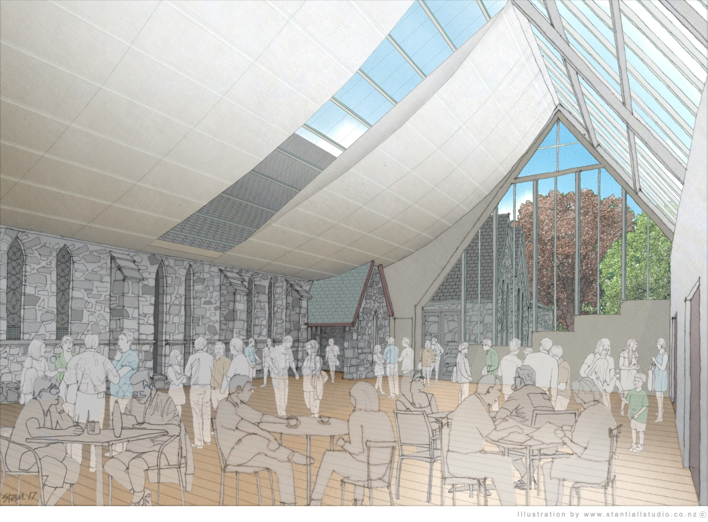 An Artist's impression of the Sir Paul Reeves Atrium